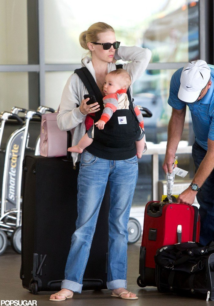 January Jones waited to be picked up at LAX with son, Xander.