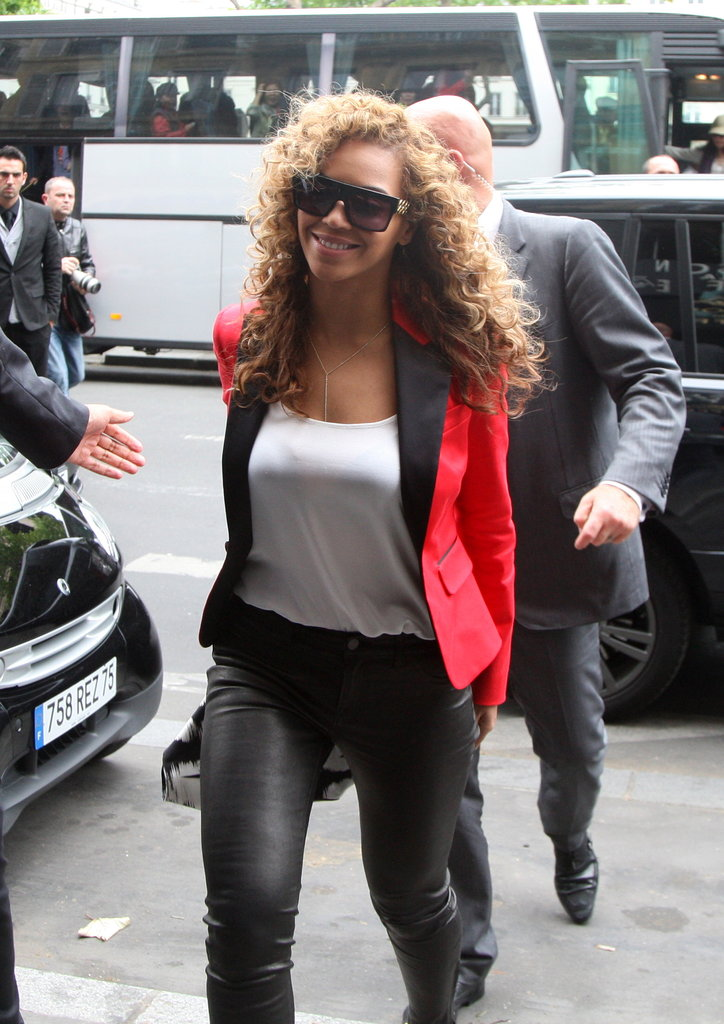 Beyoncé wore a red blazer as she and Jay-Z grabbed a meal at Caviar Kaspia in Paris.