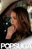 Jessica Alba got into a car packed with luggage as she headed out of NYC.