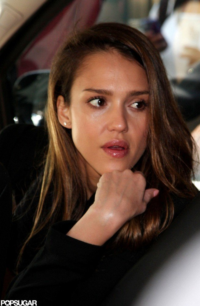 Jessica Alba got into a car after leaving her NYC hotel.