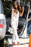 Kate Beckinsale punched up her Summer-perfect all-white attire with colorful Pierre Hardy wedges.