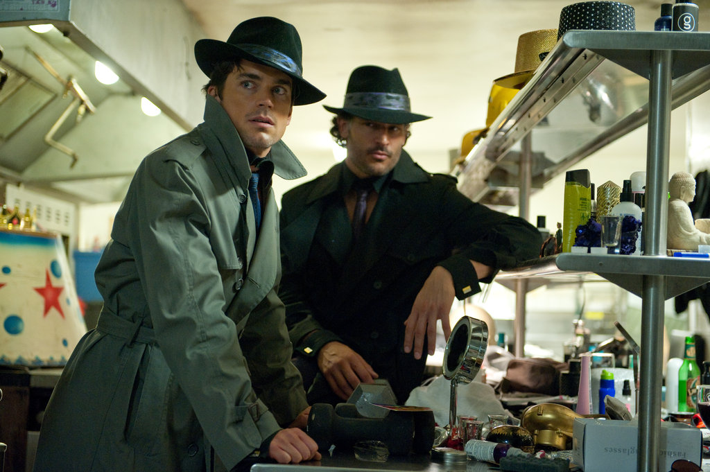 Matt Bomer and Joe Manganiello looked sexy in fedoras and trench coats while filming Magic Mike. Photos courtesy of Warner Bros.