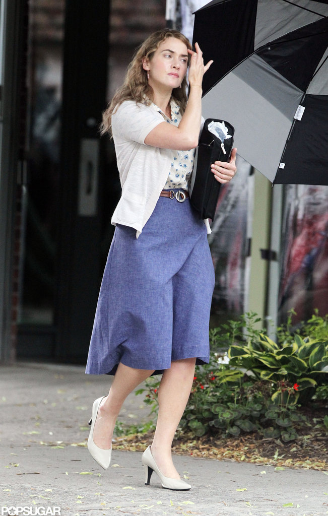 Kate Winslet looked cute in a sweater and heels on the set of Labor Day.