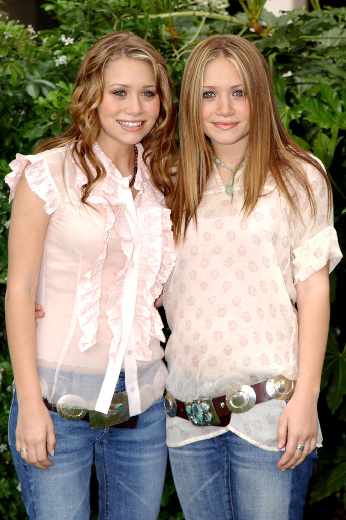 Mary-Kate Olsen and Ashley Olsen were in London in May 2002 to present a check to the BBC for Children in Need.