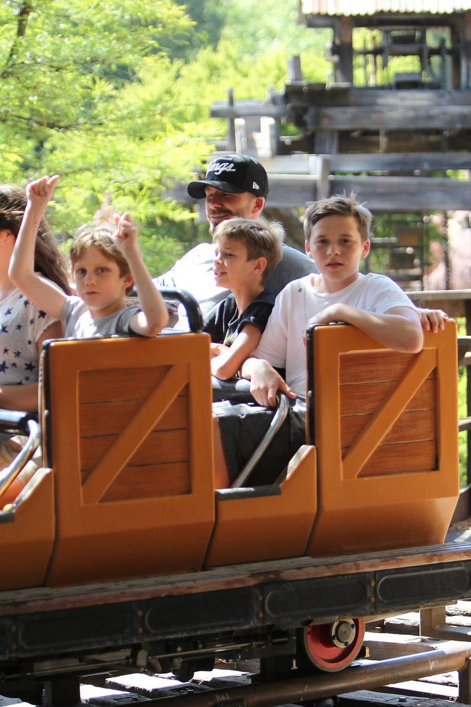 Romeo Beckham and Brooklyn Beckham rode a ride with dad David Beckham.