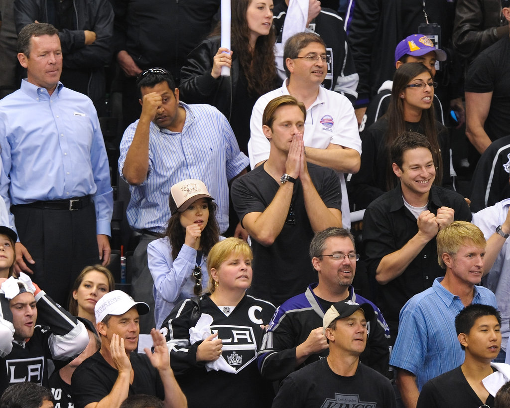 Alexander Skarsgard and Ellen Page got into the LA Kings Stanley Cup finals game in LA.