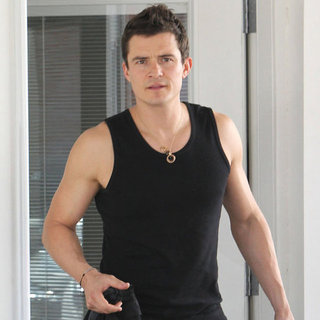 Orlando Bloom Wearing Tank Top at the Gym Pictures