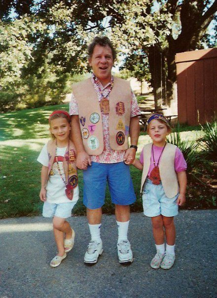 """Here is my dad, George, taking his girls on a father-daughter weekend in the YMCA's Indian Princess program. My dad was Big Oak, Lizzy was Little Oak, and I was Acorn. This photo shows me as a new member without badges, but my sister and Dad were ruling. My dad can bead a mean necklace."" — Maggie Eisenberg, executive assistant, and Lizzy Eisenberg, business development, ShopStyle"