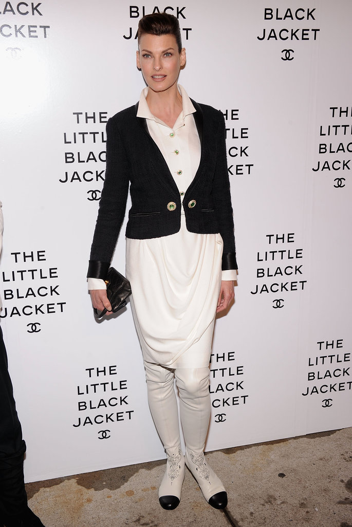 Linda Evangelista showed off a black and white look from Chanel's Bombay-meets-Parisian chic Pre-Fall '12 collection.