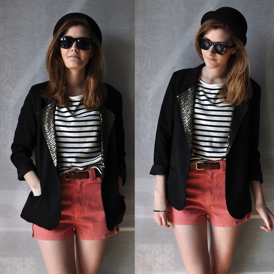 Soup up your colored shorts with sequins, stripes, and one chic hat. Photo courtesy of Lookbook.nu