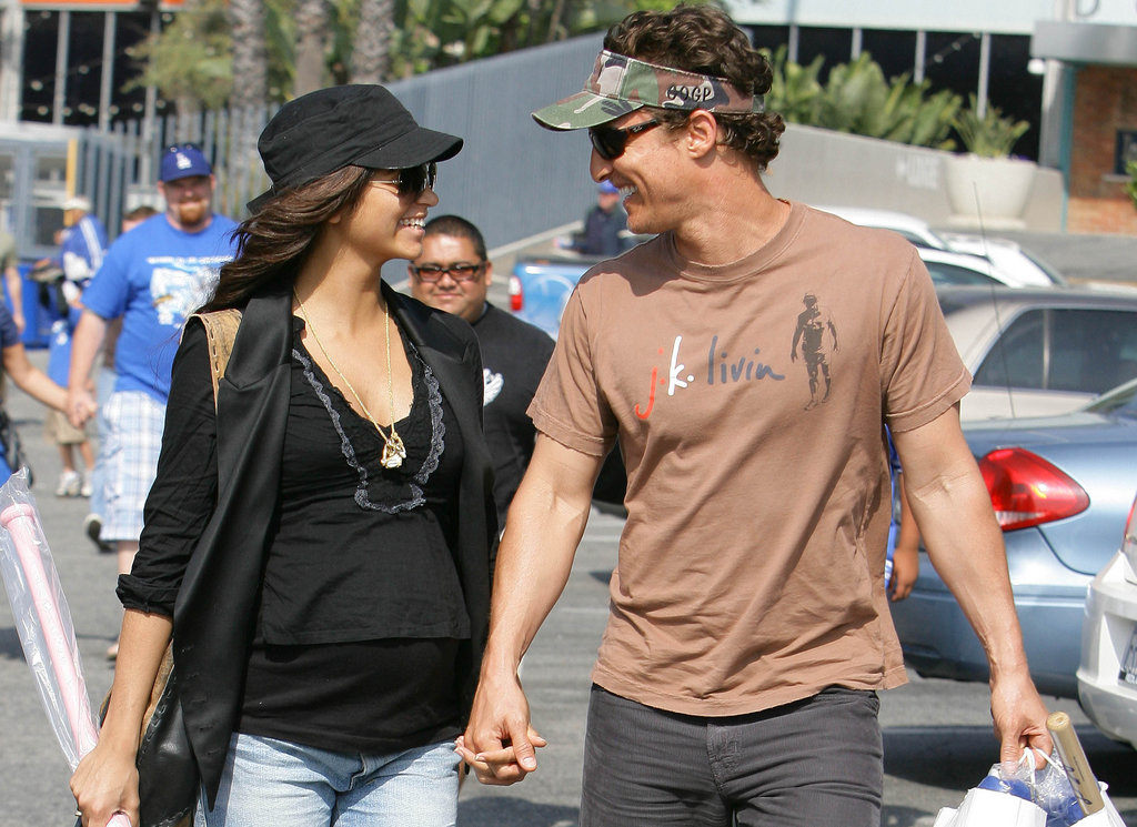 Matthew McConaughey and pregnant Camila Alves showed their happy sides while out in LA in May 2008.