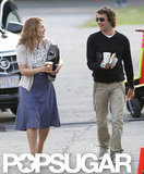 Kate Winslet looked happy to have a visit from boyfriend Ned Rocknroll on the set of Labor Day.
