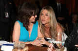 Jennifer Aniston chatted with Sally Field at the AFI Life Achievement Award dinner honoring Shirley MacLaine in LA.