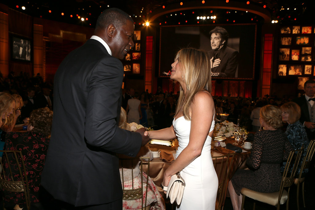 Jennifer Aniston and Dennis Haysbert exchanged words at an AFI gala in LA.