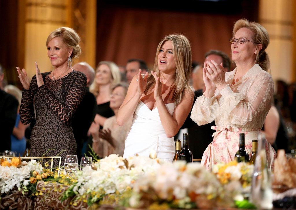 Melanie Griffith, Jennifer Aniston, and Meryl Streep applauded Shirley MacLaine at the AFI Life Achievement Award dinner in LA.