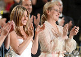 Jennifer Aniston and Meryl Streep applauded at the AFI Life Achievement Award dinner honoring Shirley MacLaine in LA.
