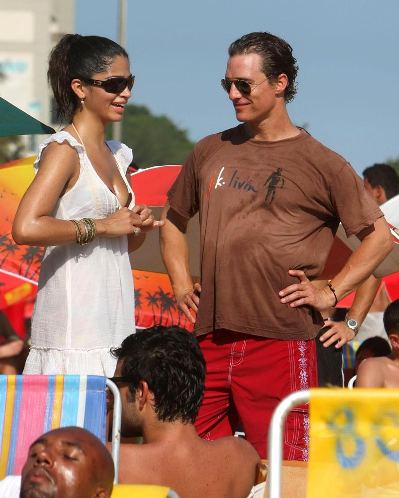 Matthew McConaughey and Camila Alves relaxed oceanside in Brazil in February 2009.