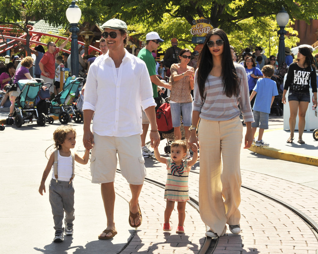 Matthew McConaughey and Camila Alves took their kids Levi and Vida spent a day at Disneyland in June 2011.