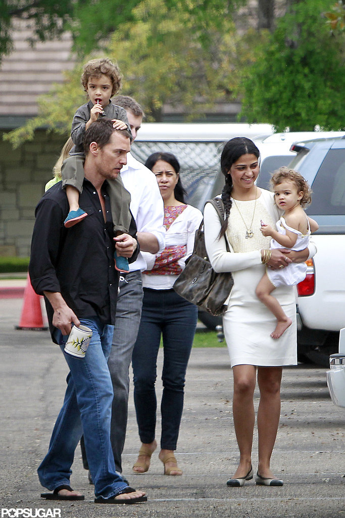 Matthew McConaughey, Camila Alves, Levi, and Vida went to church in March 2012 in Austin.