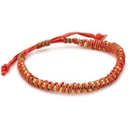 Nine West Vintage America Brass Ox Coral Colored Friendship Bracelet ($26)
