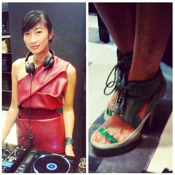 One of the best-dressed DJs we've ever seen at Acne's NYC store opening.