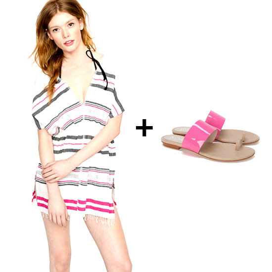 We love the look of this striped handwoven tunic over a black bikini — and the pink lacquered sandals give just the right amount of color and shine. Get the look:  Lemlem Mara Tunic ($200) Kors By Michael Kors Zen Toe Loop Sandal ($150)
