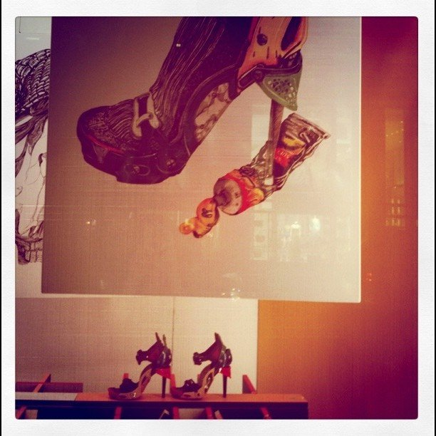 The window displays at Barneys' Deste Fashion Collection set the stage for an artsy-cool evening.