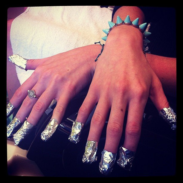 Fortnightly Shellac removal means foil finger gloves!