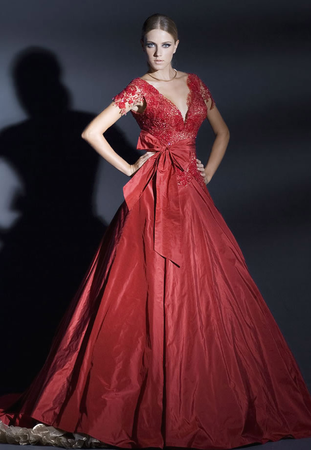 Red wedding dresses with sleeves for Red dresses for weddings bridesmaid