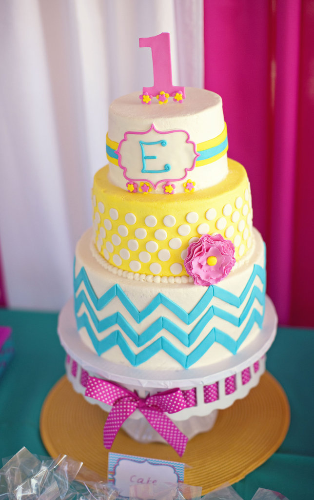 A Bright Chevron Cake