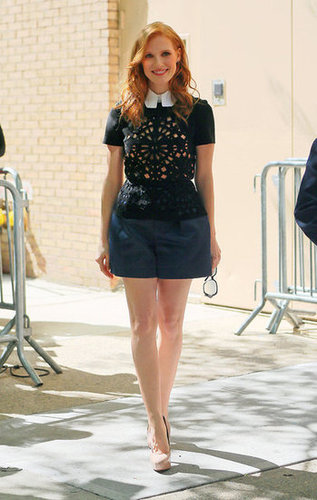 Steal Her Style: Jessica Chastain Rocks The Ladylike Peplum And Satin Shorts