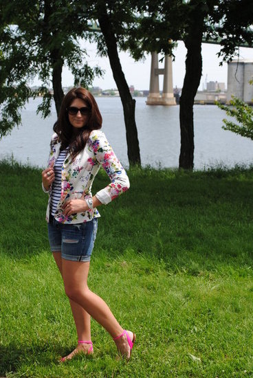 Floral Blazer with denim