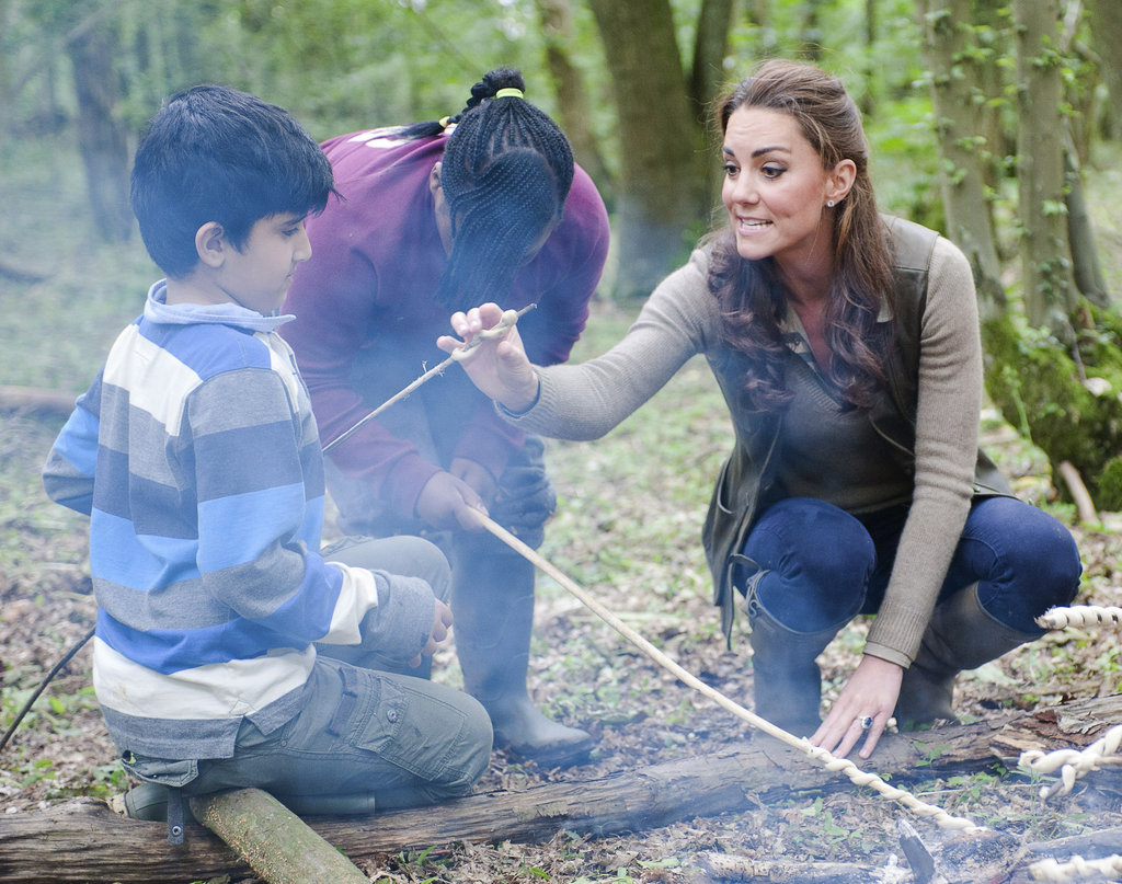 Kate Middleton helped out with children from Expanding Horizons' primary school outdoor camp.