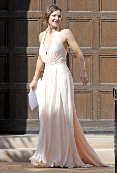 Katharine McPhee was pictured in her bridesmaids dress.