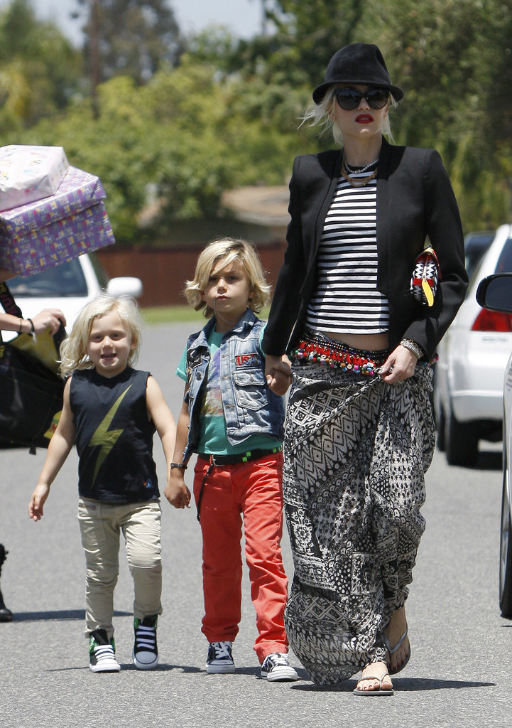 Gwen Stefani led Kingston and Zuma Rossdale to a party in Long Beach.