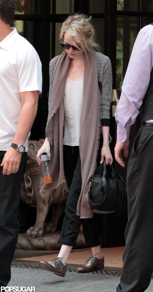 Emma Stone left an NYC hotel.