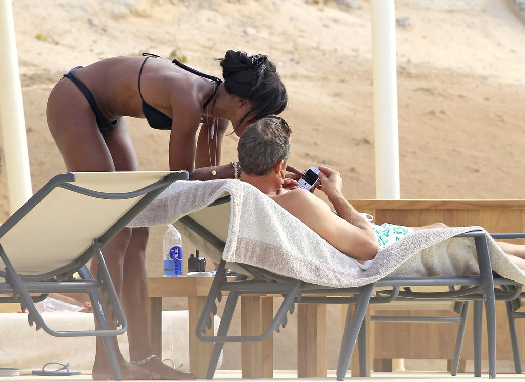 Naomi Campbell showed off her body in a black bikini in Ibiza.