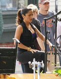 Salma Hayek shot a scene for Grown Ups 2 in Massachusetts.