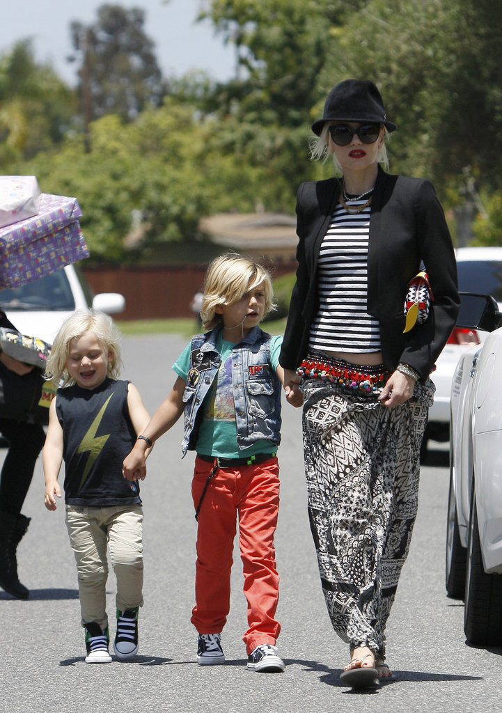 Zuma Rossdale sported a lightning bolt shirt while Kingston wore a denim vest in Long Beach.