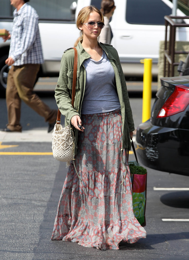 Jennifer Lawrence wore sunglasses and a purse while running errands in LA.