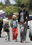 Gwen Stefani held hands with Kingston and Zuma Rossdale in Long Beach.