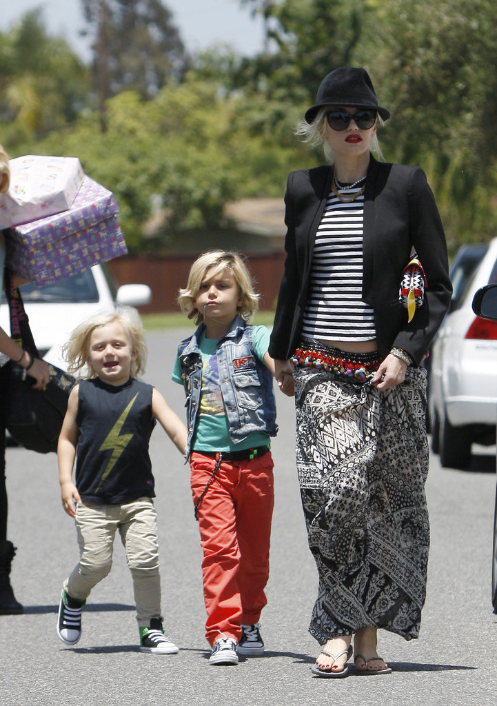 Gwen Stefani walked with Zuma and Kingston Rossdale in Long Beach.