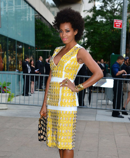 "Solange Knowles showed off her usual brand of ""I just threw this on"" amazingness at the CFDA Awards. She paired her yellow Marni shirt dress with a smattering of gold rings in ranging widths."
