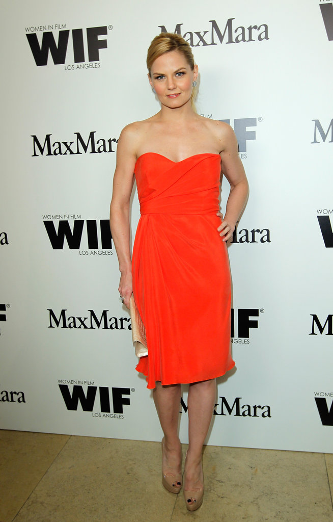 Jennifer Morrison looked ready for Summer in a hot orange dress.