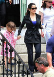Salma Hayek's daughter, Valentina, visited her on the set of Grown Ups 2 in Massachusetts.