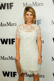 Lori Loughlin looked pretty in a white lacy dress.