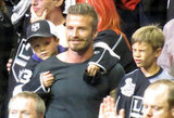 David Beckham's sons Cruz Beckham and Romeo Beckham attended the LA Kings Stanley Cup final game with him in LA.