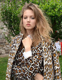 Lindsey Wixson struck a pose in Stella McCartney's Resort leopard print.