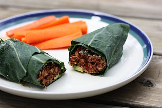 Bean Burger Collard Wrap