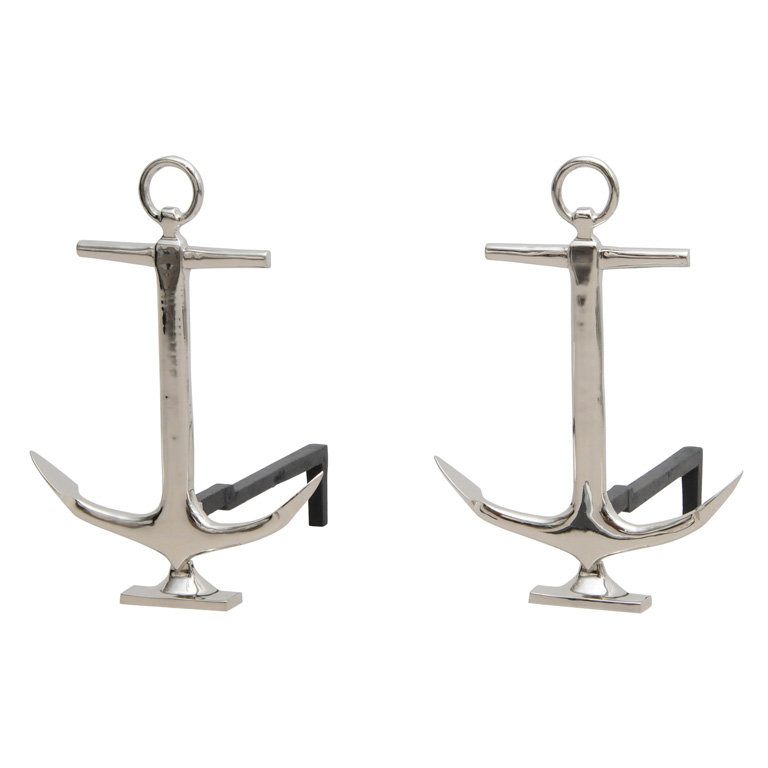 These Anchor Andirons ($1,250) would add crisp nautical style to a Hamptons beach house's fireplace.